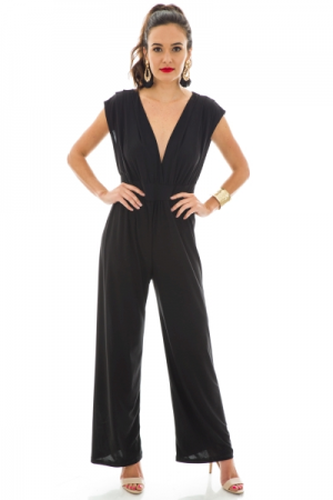 Plunge Neck Jumpsuit, Black