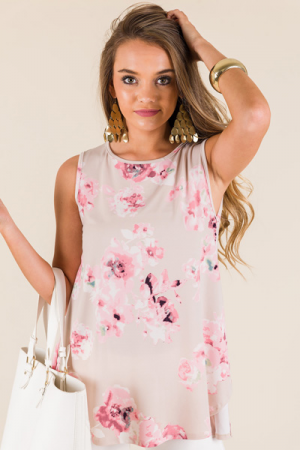 Ivy Floral Top, Taupe
