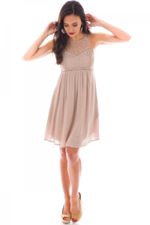 Laced Look Dress, Taupe