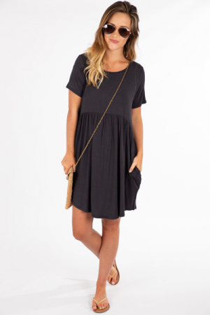 Paige Pocket Dress, Ash Black