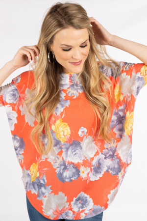 Floral Crepe Top, Coral