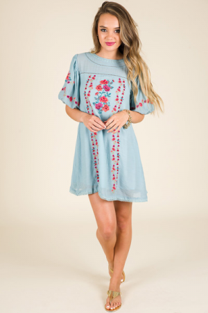 Garden Muse Dress, Light Blue