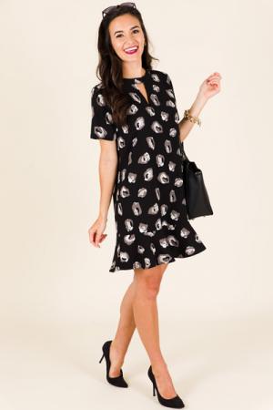Lana Flounce Dress, Black