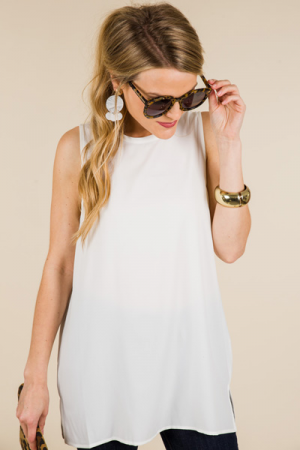 Tripp Sleeveless Top, White