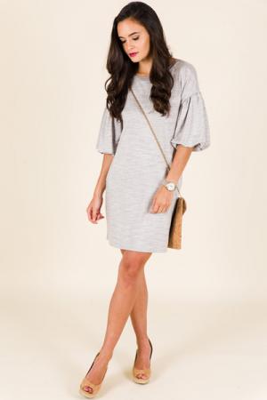 Puffer Tee Dress, Grey