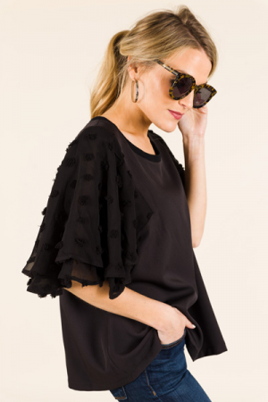 Dotted Sleeves Top, Black