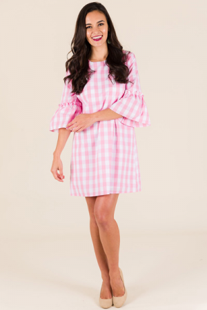 Poplin Shift, Pink Gingham
