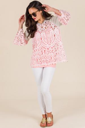 Pink Lace Sweatshirt