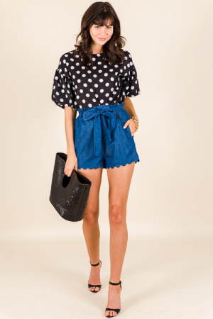Scallop Hem Shorts, Chambray