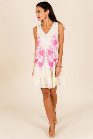 Garden Embroidery Dress, Natural