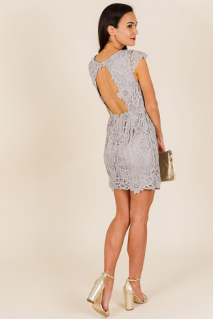 Open Back Lace Dress, Grey