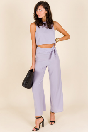 Side Tie Pants, Lilac Grey