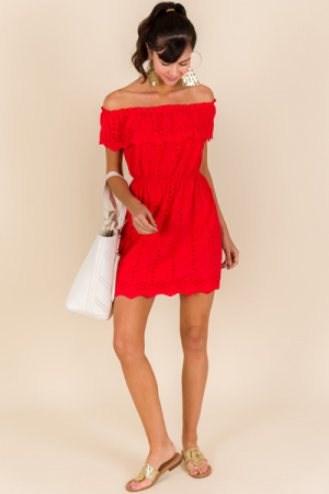 Off Shoulder Eyelet Dress, Tomato