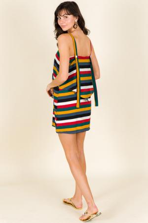 Multi Stripe Layered Dress