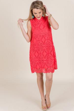Sunset Crochet Dress, Coral