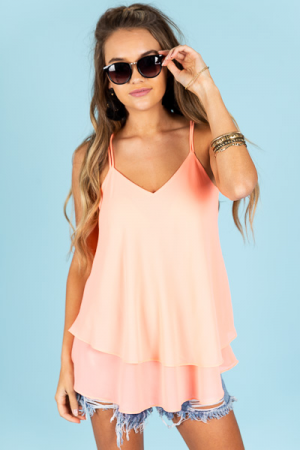 Double Layer Tank, Neon Rose