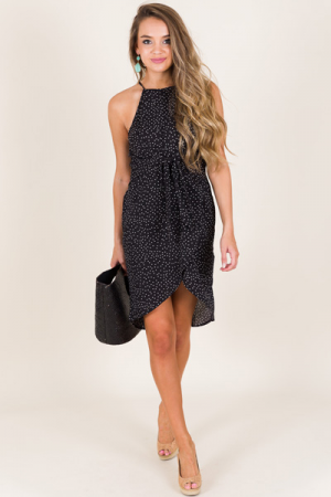 Double the Dots Dress, Black
