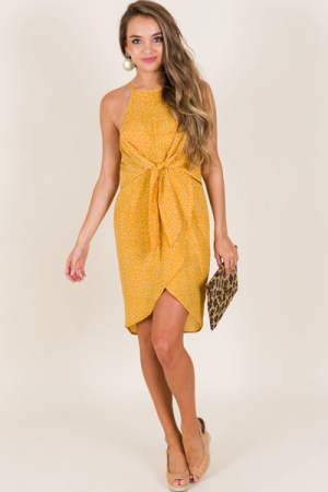 Double the Dots Dress, Mustard