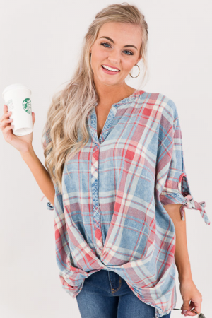 Twist of Plaid Top
