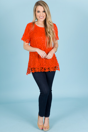Alessandra Lace Top, Tangerine