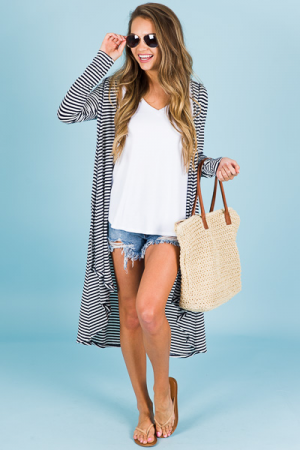 Striped Hoodie Cardigan, Navy