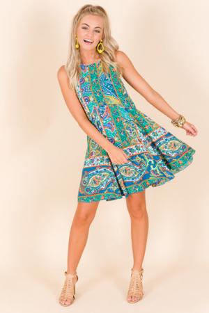 Vibrant Paisley Dress