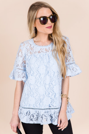 Floating Lace Top, Sky