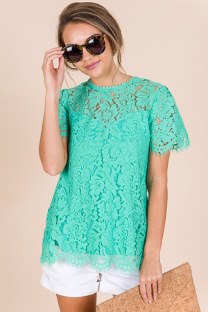 Mint For You Lace Top
