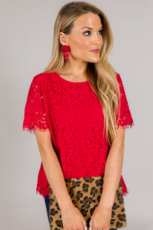 Elli Lace Top, Red