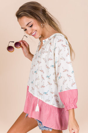 Flamingo Print Blouse