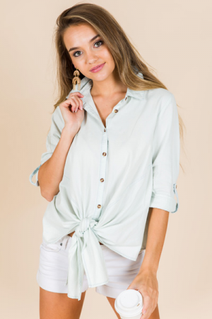 Tie Front Chambray Top