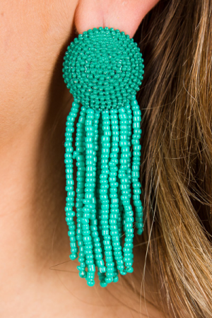 Disc and Fringe Earring, Turq