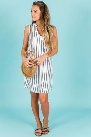 Lea Striped Dress, White