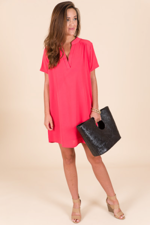 Paloma Shift Dress, Coral