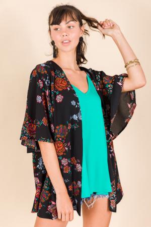 Garden Daze Kimono, Black