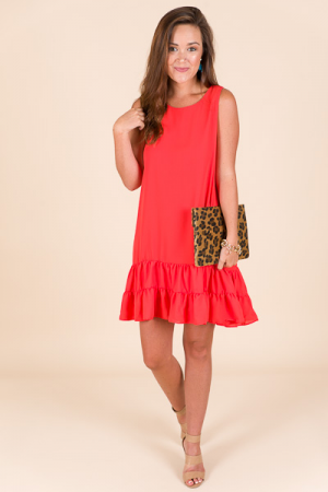 Bottom Ruffle Dress, Coral