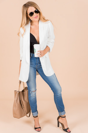 Pintuck Sleeve Blazer, White