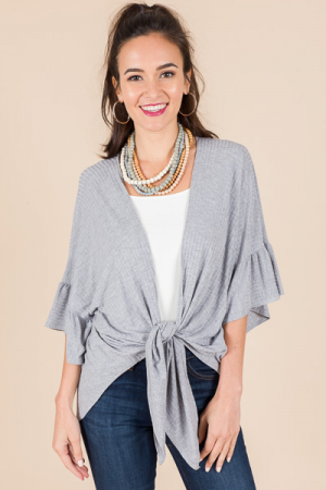 Ribbed Knot Front Topper, Grey