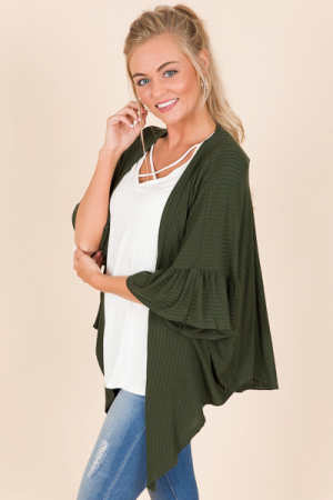 Ribbed Knot Front Topper, Olive