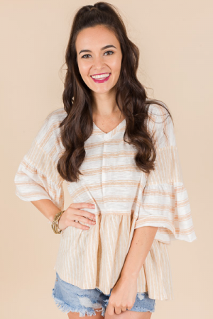 Margot Striped Top, Tan