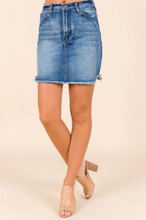 Frayed Hem Jean Skirt