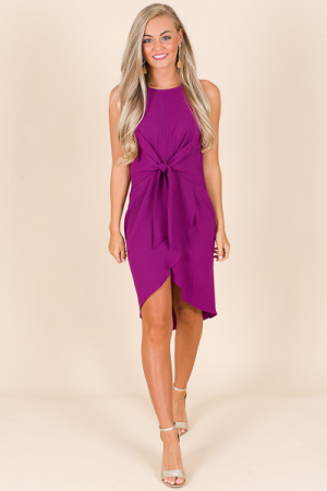 Halter Knot Dress, Plum