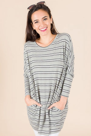 Diana Striped Tunic, Sage