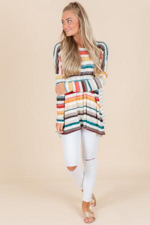Layla Striped Tunic, Coral