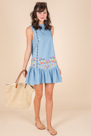 Embroidered Doll Dress, Denim