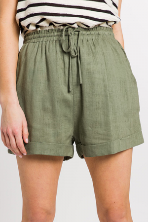 Cuffed Linen Shorts, Olive
