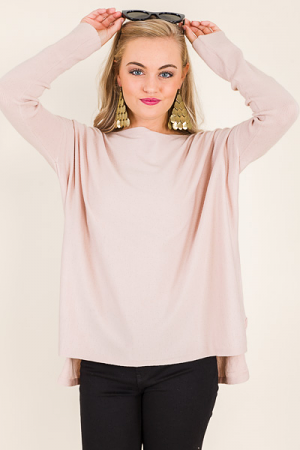 Solid Boatneck Sweater, Blush