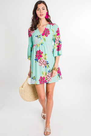 Mint to Be Floral Dress