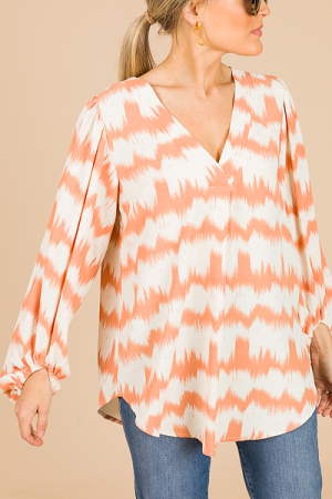 Masterpiece Pleat Blouse, Peach
