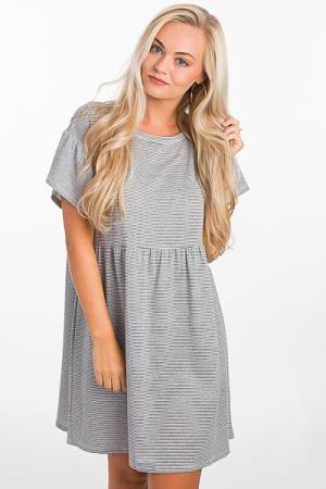 Babydoll Stripes Dress, Grey